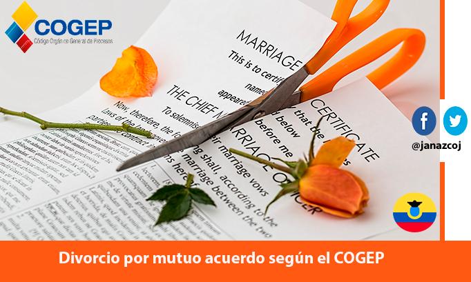 Divorcio por mutuo acuerdo según el COGEP